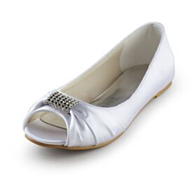 Spuntate Scarpe Sposa Ballerine Scarpe Basse Bianco Raso