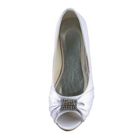 Peep Toe Flat Simple With Rhinestones Satin White Wedding Shoes Ballerina