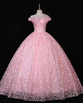 Elegantes Corte Princesa Hombros Caidos Largos Quinceañera Vestidos De 15 Años De Encaje Rosa