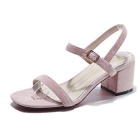 Tacco Largo Sandali Tacco Medio 7 cm Scamosciate Con Cinturino Alla Caviglia
