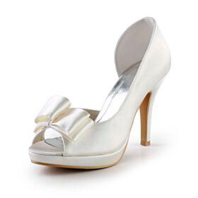 Runde Zeh Stilettos Brautjungfer Schuhe Elegante Brautschuhe Mit Schleife Satin Ivory Sandaletten Peeptoes