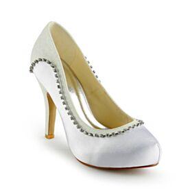 Avec Strass Satin Blanche Élégant Talons Hauts Chaussure Mariage Chaussure Demoiselle D honneur Bout Rond