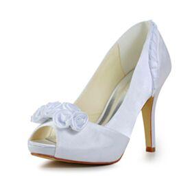 Plisado Stiletto Elegantes Peep Toe Zapatos Para Novia Satin Blanco Punta Redonda Sandalias Tacon Alto 10 cm