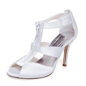 Stilettos Brautjungfer Schuhe Riemchen High Heel Peeptoes Runde Zeh Satin Sandaletten Elegante Brautschuhe Weiß