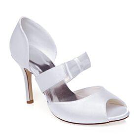 Tacones Altos Stiletto Punta Redonda Peep Toe Blanco Zapatos De Novia Elegantes Sandalias