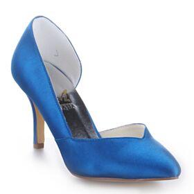 Raso Tacchi A Spillo Decolte Eleganti Scarpe Da Sposa A Punta 8 cm Tacco Alto Blu Elettrico