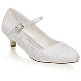 Petit Talon Chaussure De Mariée Escarpins Femmes Blanche Dentelle Élégant Talon Aiguille Strass