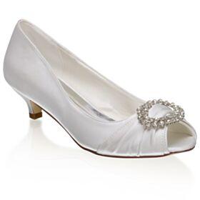 Round Toe Bridesmaid Shoes Charming Stilettos Sandals Bridal Shoes Peep Toe 4 cm Kitten Heels White