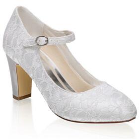 Bridesmaid Shoes Pumps Shoes Stilettos Ankle Strap Satin Mid Heel Lace Bridal Shoes Ivory Elegant Round Toe