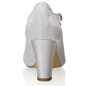 ピンヒール 結婚 式 靴 エレガント アイボリー 7センチ ヒール アンクルストラップ レース ミッド ヒール パンプス 1121170373F