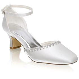 Bruidsschoenen Steentjes Blokhakken Witte Sandalen Satijnen Mooie 6 cm Heels