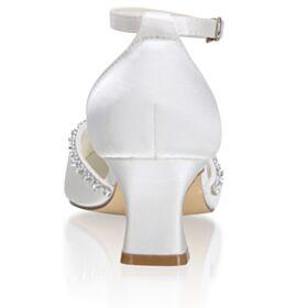 Mit 6 cm Absatz Chunky Heel Knöchelriemen Brautschuhe Mit Strasssteine Satin Weiß Sandaletten Damen