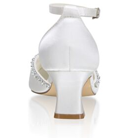 Sandals Bridesmaid Shoes Ankle Strap White Mid Heels