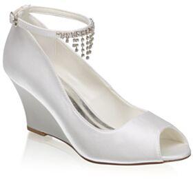 Knöchelriemen Peeptoes Mit Absatz Mit Strasssteine Mit Fransen Brautschuhe Brautjungfer Schuhe Ivory Elegante Keilabsatz