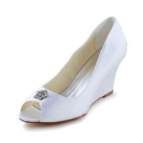 Elegant Wedges Wedding Shoes Sandals Peep Toe White Mid Heels Bridesmaid Shoes
