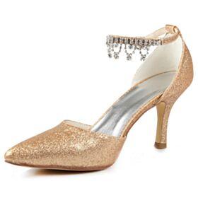 Luxus Mit 8 cm Absatz Glitzernden Champagner Gold Stilettos Pumps Hochzeitsschuhe Knöchelriemen Glitzer Mit Strasssteine Spitz Zeh