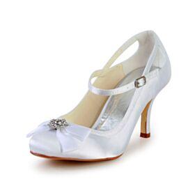 Con Fiocco Décolleté Cinturino Alla Caviglia Bianche Tacco Alto 8 cm Raso Con Strass Tacchi Spillo Scarpe Matrimonio