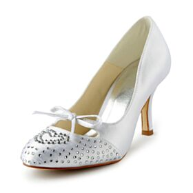 Rhinestones White Bridal Shoes Pumps Dress Shoes With Bowknot Elegant 8 cm High Heel Cute Out