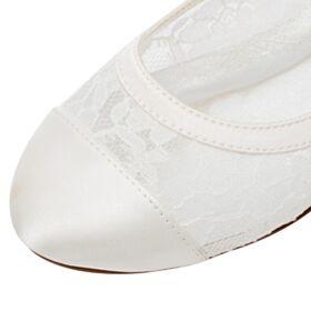 Flache Ivory Spitzen Runde Zeh Elegante Brautjungfer Schuhe Brautschuhe