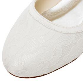 ラウンド トゥ パンプス 結婚式 靴 フラット レース 1121190327F