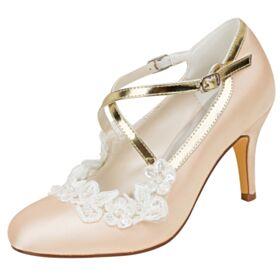 Decollete Champagne In Raso Con Perle Con Lacci Scarpe Sposa 8 cm Tacco Alto Con Tacco A Spillo