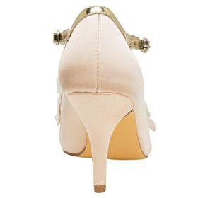 Mit Perle Brautschuhe Champagner Gold Elegante Satin Pumps Mit 8 cm Absatz Stilettos Riemchen