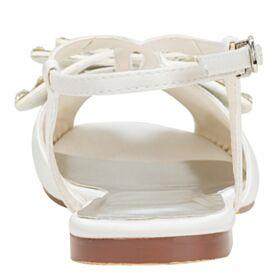 Sandale Chaussure Demoiselle D honneur Plates Chaussure De Mariée Peep Toes Ivoire Satin Belle