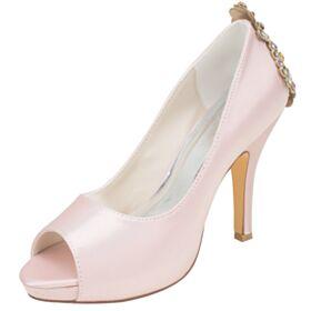 Chaussure Mariée Chaussure Demoiselle D honneur Talon Haut Satin Rose Clair Talons Aiguilles Bout Rond Peep Toes Élégant