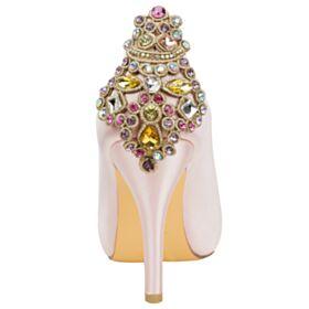 Hochzeitsschuhe Pink Runde Zeh Mit Kristall Elegante Stilettos Satin Peeptoes High Heels