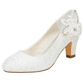 Chunky Heel Mid High Heeled Pumps Bridesmaid Shoes Charming Round Toe Wedding Shoes