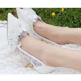 Beaded Wedding Shoes Pointed Toe Stilettos Bridesmaid Shoes Appliques 8 cm High Heels Ivory Pumps Dress Shoes