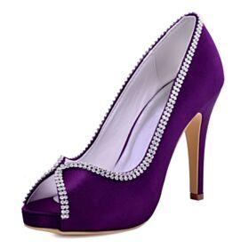Peep Toe Elegant Sandals Bridesmaid Shoes Stilettos Purple Wedding Shoes
