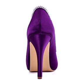 Stilettos Brautjungfer Schuhe Brautschuhe Elegante Peeptoes Mit 10 cm Absatz Runde Zeh Violett Satin