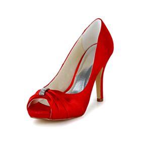 Rouge Chaussure Mariée Bout Ouvert Classique Satin Escarpins Talons Aiguilles Plissée Talon Haut Belle