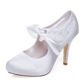 Elegant Ankle Strap Pumps White 10 cm High Heels Stilettos Wedding Shoes Tulle Bridesmaid Shoes Round Toe