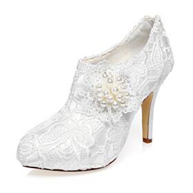 Pumps Dress Shoes Luxury Elegant White Stiletto 4 inch High Heel Lace