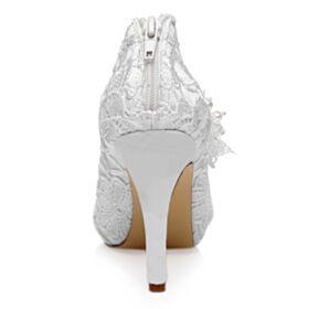 10 cm Talon Haut Escarpins Talon Aiguille Blanche Dentelle Perle Chaussure De Mariée Élégant
