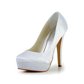 Chaussure Demoiselle D honneur Blanche Élégant Chaussure Mariée Talons Aiguilles 13 cm Talon Haut Escarpins