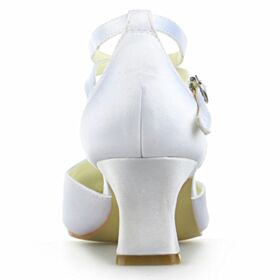 Strappy Bridals Wedding Shoes White Mid Heel Bridesmaid Shoes Satin Stiletto Pumps