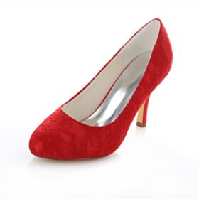 Satin Runde Zeh Pumps Brautschuhe Elegante Rot Spitzen 10 cm High Heel