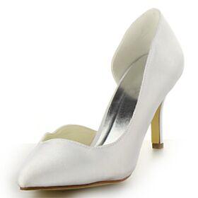 Belle Chaussure Demoiselle D honneur Chaussure Mariée Talon Aiguille Satin Talons Hauts Escarpins