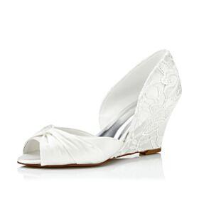 Bruidsschoenen Kanten 7 cm Heels Wedges Peep Toe Ivory Satijnen Sandalen