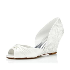 Color Marfil Sandalias Mujer Peeptoes De Encaje Tacon Medio 7 cm De Cuña Zapatos Para Novia
