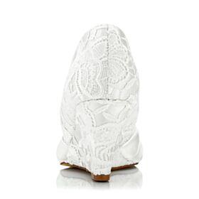 D orsay Sandale Satin Dentelle Belle Chaussure Mariage Ivoire Bout Ouvert 7 cm Talon Mid Compensées