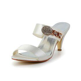 Ivoire Strass Talons Aiguilles Élégant Bout Rond Nu Pied 7 cm Talon Mid Chaussure Mariage Chaussure Demoiselle D honneur