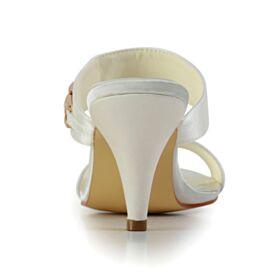 Sandali Scarpe Da Sposa Con Strass Raso Tacco Medio 7 cm Tacchi Spillo Scarpe Da Damigella