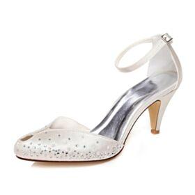Satin Bridals Wedding Shoes Ivory Stilettos Sandals 7 cm Heeled Elegant Ankle Strap Pointed Toe
