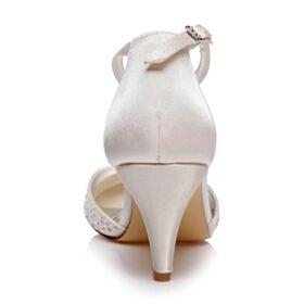Avec Strass Talon Mid Bout Pointu Avec Bride Cheville Talons Aiguilles Élégant Chaussure De Mariée Ajourée Ivoire