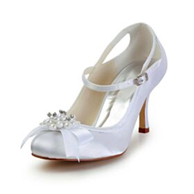 Stilettos With Ankle Strap Ivory Bridals Wedding Shoes Round Toe With Pearl Pumps Dress Shoes
