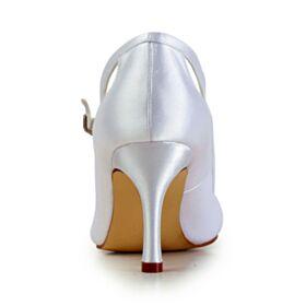 High Heels Elegante Satijnen Met Strik Enkelband Ivory Uitgesneden Trouwschoenen Pumps